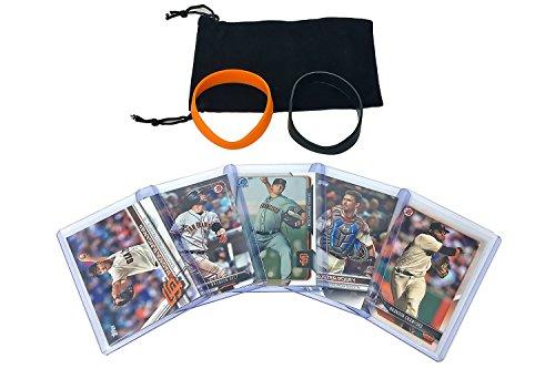 San Francisco Giants Baseball Cards: Buster Posey, Madison Bumgarner, Brandon Belt, Chris Stratton, Brandon Crawford ASSORTED SF Trading Card and Wristbands Bundle