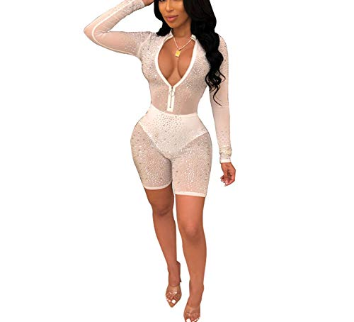 (ShelbiDamon Women's Outfits Jumpsuit Sexy Rhinestone Bodycon Deep V Neck Zipper Shorts Clubwear )