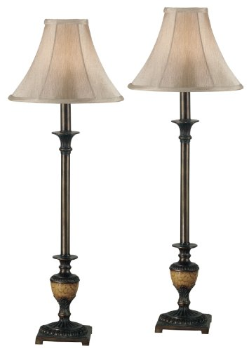 Bronze 60w Buffet Lamp - Kenroy Home 30944 Emily Buffet Lamp, 2 Pack, Crackle Bronze