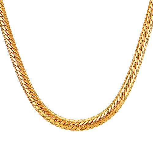 SWOPAN 18K Real Gold Plated 6MM Wide Snake Chain Link Necklace for Pendant Men Women Gold-Plated Classic Hip Hop Punk Fashion Jewelry with 18K Stamp, 22