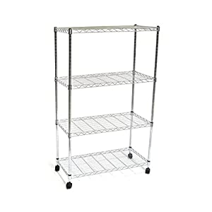"Seville Classics 4-Tier UltraZinc Steel Wire Shelving/w Wheels, 14"" D x 30"" W x 48"" H"