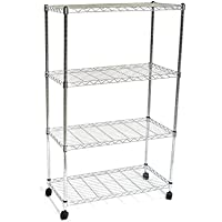 Deals on 4 Tier Adjustable Wire Metal Shelving Rack w/ Casters