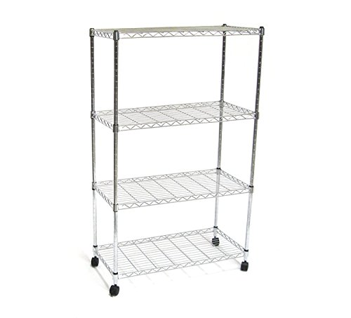Seville Classics SHE14304ZB 4-Tier Steel Wire Shelving with Wheels, 30