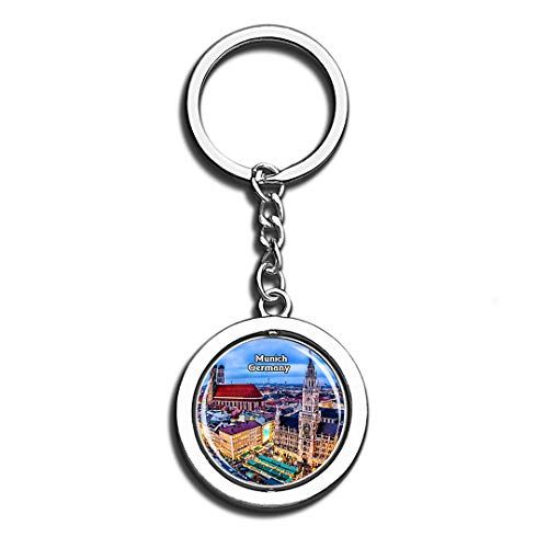 Munich Germany Beauty 3D Crystal Creative Keychain Spinning Round Good Stainless Steel Key Chain Ring Travel City Souvenir -