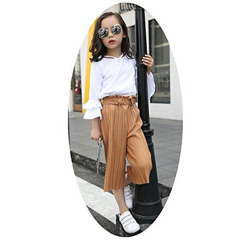 FTSUCQ Girls Pearl Trumpet Sleeve Shirt Top + Wide Leg Pants + 2PCS Floral Handkies,Khaki 150