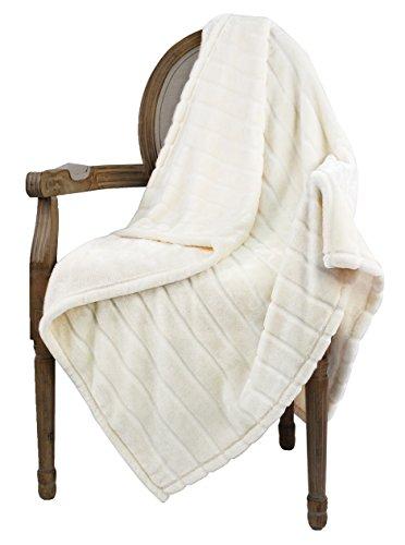 Bertte Ultra Velvet Plush Super Soft Decorative Stripe Throw Twin Size Bed Blanket- 60