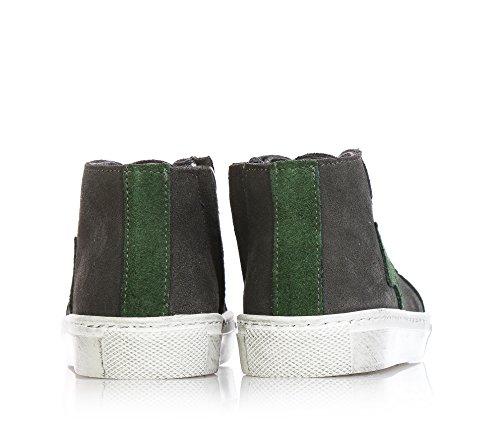 EUREKA - Grau Schuhe mit Schnürsenkel, aus Velours, Handgefertigt, seitlich Reißverschluss, Unisex, Jungen, Mädchen