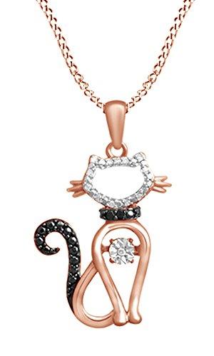 ing Natural Diamond Accent Cat Pendant Necklace in 925 Sterling Silver (0.05 Ct) (Diamond Accent Cat Pendant)