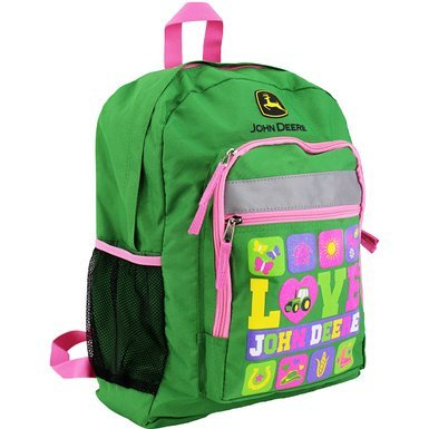 - Love John Deere 16 inch Kids Girls Backpack Pink Green