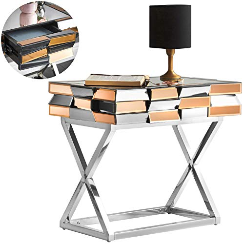 Knightsbridge - Mesa Auxiliar Espejo con cajon y Patas Cruzadas cromadas Diseno de Vidrio 3D Muebles de salon de Dormitorio en Oro Rosa