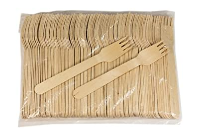 "Perfect Stix Green Fork 158 Wooden Cutlery Forks 6"" Length"