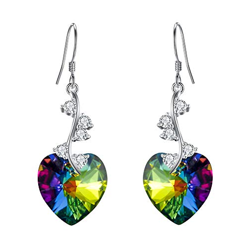 Multi Ring Crystal Swarovski Color - EleQueen Women's 925 Sterling Silver Swarovski Crystal Elements Love Heart French Hook Dangle Earrings Multicolor