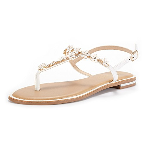 Women's SPPARKLY Thong Summer 3 Gladiator Ankle Strappy DREAM white Strap Elastic PAIRS String Sandals BH5EnwxqZS