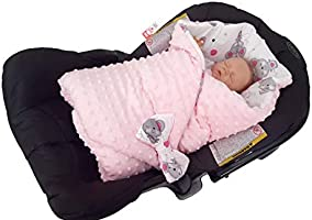 Two-sided Sleeping Bag for Newborns 78 x 78 cm Intended for Kids Aged 0-3 Months Pink Perfect as a Baby Shower Gift BlueberryShop Minky Fleece Baby Swaddle Wrap Car Seat Blanket