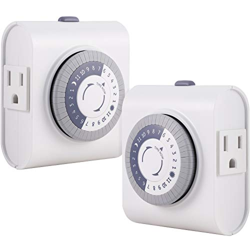 GE 24-Hour Heavy Duty Indoor Plug-in Mechanical Timer 2 Pack, 30 Minute Intervals, Daily On/Off Cycle, for Lamps, Seasonal Lighting, Holiday Decorations, 46211, Grounded 2-Outlet   Gray/White