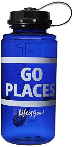 Life Is Good Water Bottle - Life is Good Script Flower Water Bottle, Darkest Blue, One Size