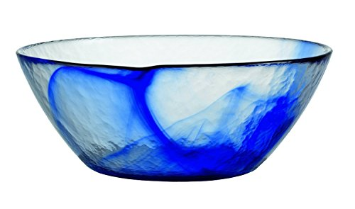 Bormioli Glass Bowls - Bormioli Rocco Murano Glass Salad and Soup Serving Medium Bowl, 9-Inch, Blue, Set of 4