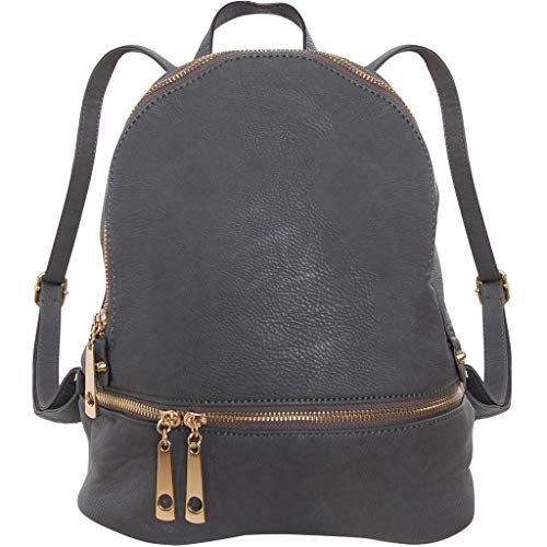 - Humble Chic Vegan Leather Backpack Purse Small Fashion Travel School Bag Bookbag, Charcoal Grey, Dark Gray