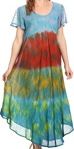(Sakkas 16802 - Kaylaye Long Tie Dye Ombre Embroidered Cap Sleeve Caftan Dress/Cover Up - Turquoise -)