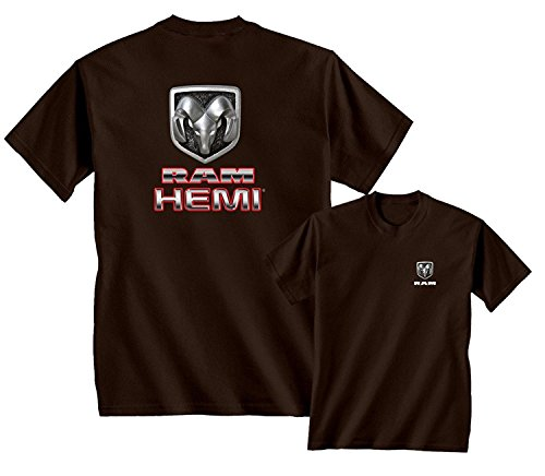 RAM HEMI Logo Dodge Emblem Mopar Badge T-Shirt, Brown, 2XL