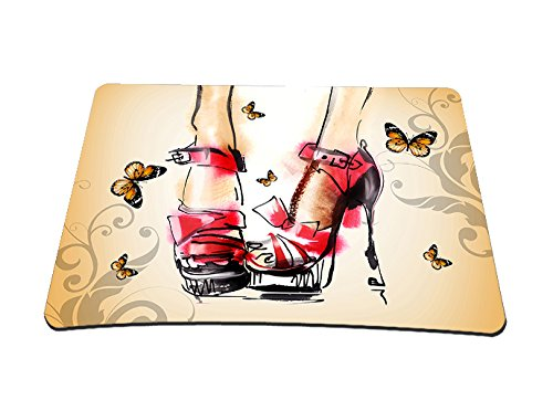 """Price comparison product image Cool High Heel & Butterflies 14"""" X 10"""" Stylish Laptop PC Comfort Waterproof Anti-Slip Mouse Pad Wireless Laser Mice Mat Pad Mousepad Fit Optical Mouse New FY-MP-006"""