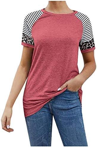 Eoeth Women O-Neck T-Shirts Leopard Print Stripe Splice Block Short Sleeve Casual Tops Blouse Tunic Shirts Pullover Tee