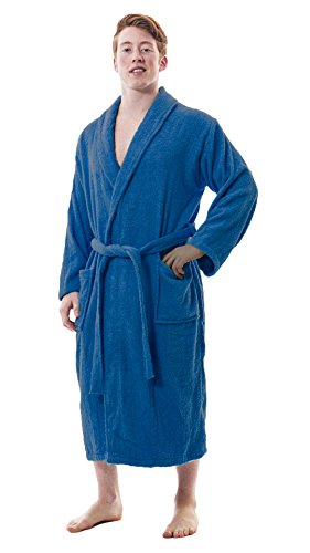 Up2date Fashion Men's Classic Terry Bath Robe, Style TRM54 (S/M, Royal Blue)