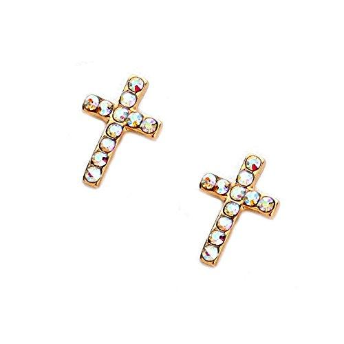 - Mini Aurora Borealis Cross Post Earrings