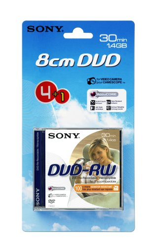 SONY DVD-RW, 1,4 GB 30 min, pack 4 +1, Handycam mini dvd, 1,4 gb,sony dvdrw,4 +1