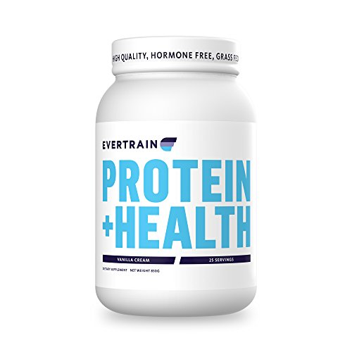 EVERTRAIN PROTEIN + HEALTH - Premium 100% Grass Fed Whey Protein With No Hormones - Improve Immunity, Aid Digestion, and Build Strength - NON-GMO - Vanilla Cream - 25 servings