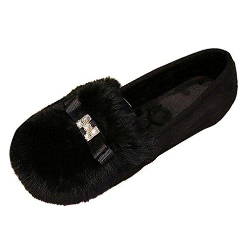 Binying Vrouwen Bowknot Bont Ondiepe Loafer Flats Zwart