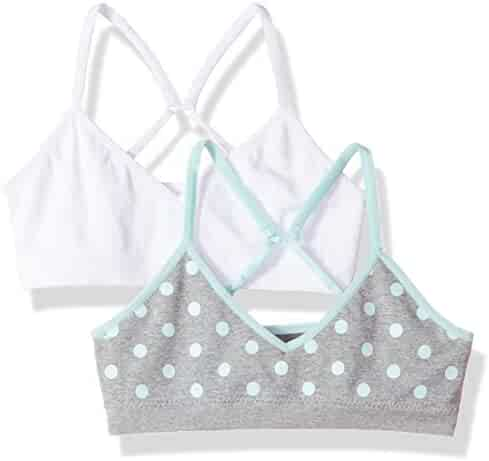 7e4f20943f39b Hanes Big Girls  ComfortFlex Seamless Bralette 2-Pack White Heather Grey  with Blue
