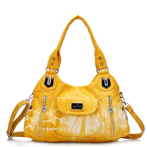 - Angel Kiss Handbag Hobo Women Handbag Roomy Multiple Pockets Street ladies' Shoulder Bag Fashion PU Tote Satchel Bag for Women (AK812-2Z Yellow), Large