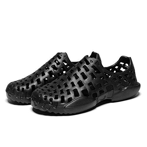 VonVonCo Men Shoes Unisex Hollow Out Casual Couple Beach Sandal Flip Flops Shoes Black by VonVonCo (Image #2)