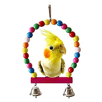 BWOGUE 5pcs Bird Parrot Toys Hanging Bell Pet Bird Cage Hammock Swing Toy Hanging Toy for Small Parakeets Cockatiels, Conures, Macaws, Parrots, Love Birds, Finches