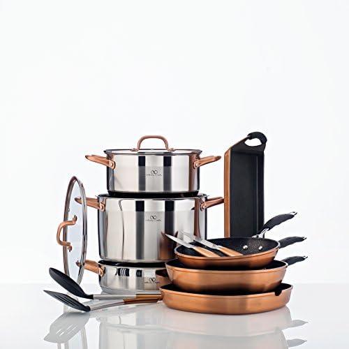 Bergner Infinity Chef Faitout à Induction en Acier Inoxydable avec Couvercle en Verre Argenté 30x 19,5x 40cm