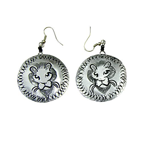 Black and Silver Lion Etched Aluminum Round Earrings