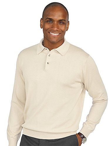 (Paul Fredrick Men's Silk, Cotton \ Cashmere Polo Collar Sweater Ivory Large)