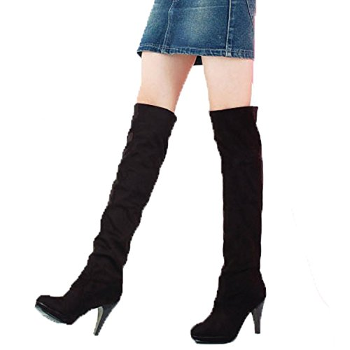 Zeagoo Womens Faux Suede Slouchy Knee High Heel Dress Boots