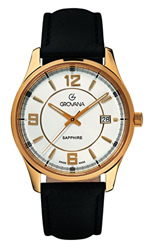 Grovana Men's 'Traditional' Swiss Quartz Stainless Steel and Leather Casual Watch, Color:Black (Model: 1215-1512)