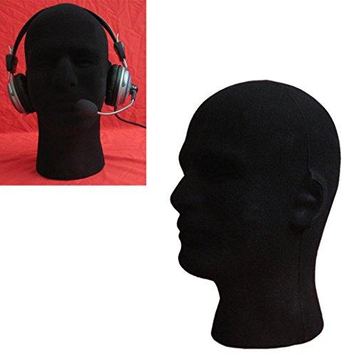 Appropriative Costume - Kemilove Male and Female Styrofoam Foam Flocking Head Model Wig Glasses Display Stand Black (Male -black)