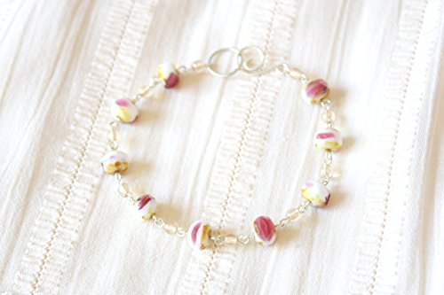 (Cheesecake With Strawberry Jam Bracelet - Pink Yellow White Faceted Glass Beaded Sterling Silver Bracelet, Handmade Jewellery by Ikuri immortelle, FREE SHIPPING)