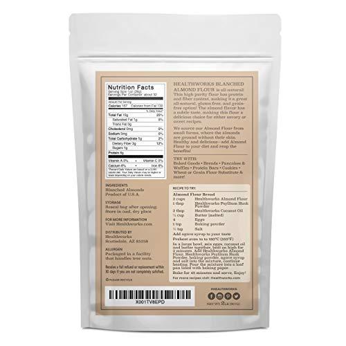 Healthworks Blanched Almond Flour (32 Ounces / 2 Pounds)   Super Fine Powder   All Natural, Grain Free, Keto, Vegan & Paleo   Healthy Flower Substitute   Low/Zero Carb   Premium Superfood