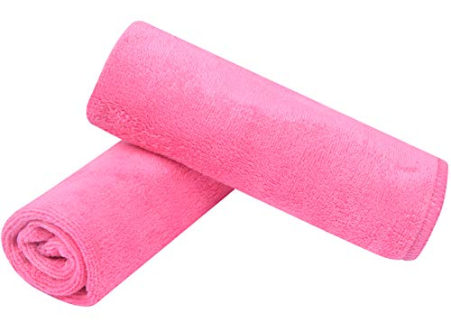 Sinland Microfiber Facial Cloths Fast Drying Washcloth 12inch x 12inch Dark pink 2 pack