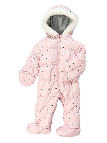Carters Infant Girls Light Pink Foil Hearts Snowsuit Baby Pram Snow Suit 6-9m