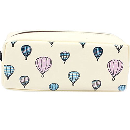 Girls Fresh Pencil Case Cute Stationery Large Capacity Student PU Leather Hot-air Balloon Pencil Bag Pouch School Supplies (Blue) (Balloon Pencils)