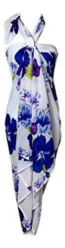 India Boutique Women's Beach Sarong Cover Up Large and Soft (Purple Hibiscus)