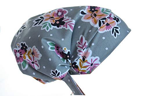 Gray Scrub Cap - Scrub Hat Chemo Cap Boho Pixie (Retro Floral)