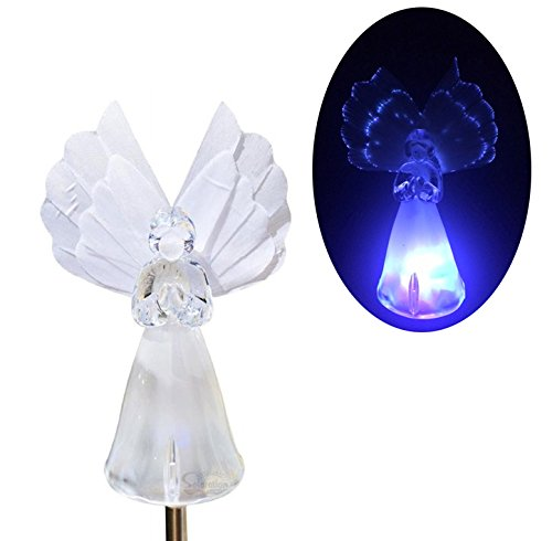 Angel with Fiber Optic Wings Solar Garden Stake Light LED Color-Changing, Set of 2