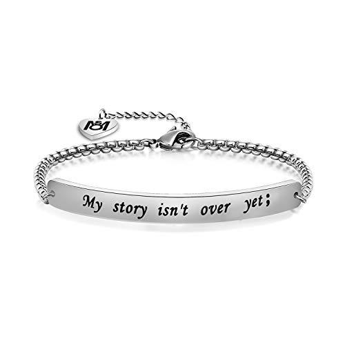 MYOSPARK My Story Isn't Over Yet ID Style Bracelet Inspirational Recovery Gift (Bracelet)